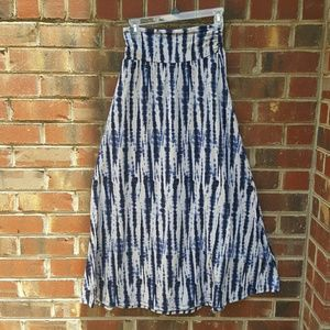 Navy blue and white maxi skirt